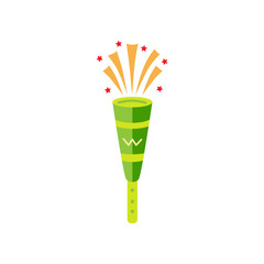 Plastic pipe isolated on white background. Trumpet for holidays and birthday. Brazilian vuvuzela. Flat style design vector illustration.