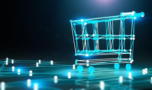 Concepto de compras por internet y carro de la compra.Comercio electronico y electronica