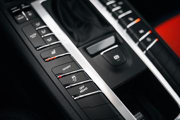 Modern supercar sport mode button