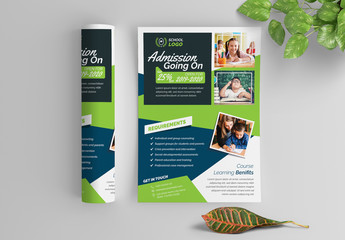 School Flyer Layout with Blue and Green Accents