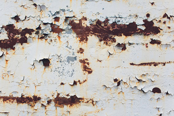 Old rusty white metal. The rust on metal background. Grunge wall background.