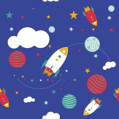 seamless pattern space and stars with rockets and clouds kids apparel babies clothing
