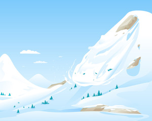 Snow avalanche slides down in high mountain, natural hazard illustration background, danger in mountains concept