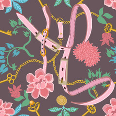 Trendy floral print with pink belts and golden chains.
