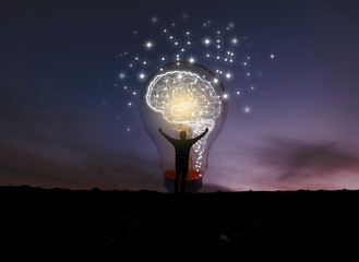 creative idea.Concept of idea and innovation .night sky background .soft focus picture .Blue tone concept
