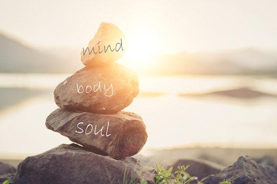 Holistic health concept of zen stones .Concept body, mind, soul, spirit,
