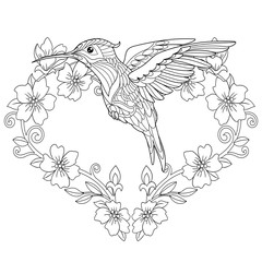 hummingbird coloring page in zentangle style
