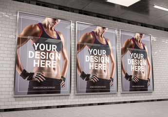 3 Vertical Subway Billboards Mockup