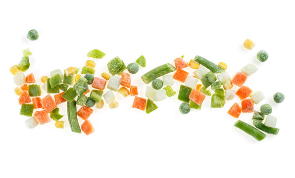 Frozen vegetable Mexican mix with beans and corn on a white background. Top view.