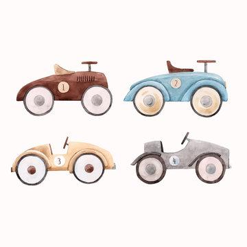 Watercolor baby car vector illustration
