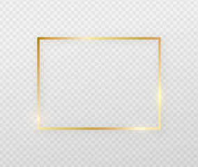 Golden border frame with light shadow and light affects. Gold decoration in minimal style. Graphic metal foil element in geometric thin line rectangle shape