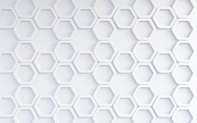 Fondo abstracto de patrón de hexagonos blancos.Concepto de tecnologia  y redes. Fotoväggar