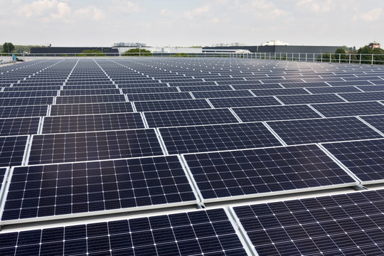 PV solar panels at an industrial roof in the Netherlands