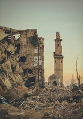 A destroyed mosque in the city of Aleppo in Syria after the war