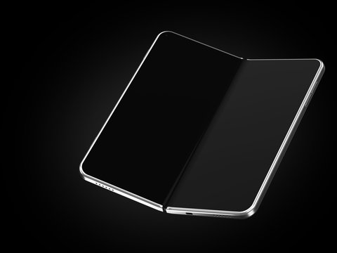 Concept of foldable smartphone folding on the longer side. Flexible smartphone isolated on black background with empty place on the screen. 3D rendering