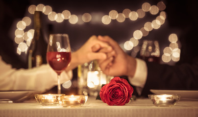 Romantic dinner date, Valentines day, anniversary concepts.