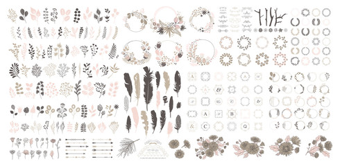 Big set with wreath, design elements, frames, calligraphic. Vector floral illustration with branches, berries, feathers and leaves. Nature frame on white background. Fotoväggar
