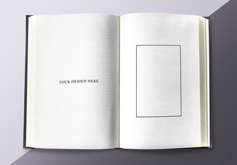 Book Pages Mockup on a Gray Background