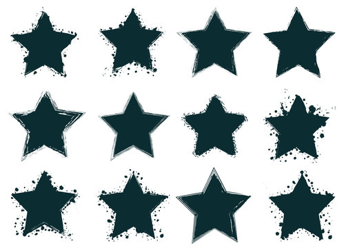Set of creative grunge stars banners, frames, stickers, backgrounds. Hand drawn textures and design elements. Place for text, information, quote