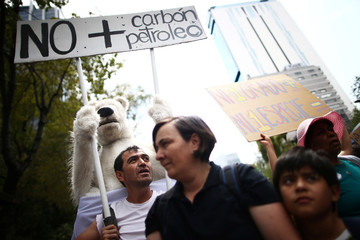 A demonstrator holds a sign in the world march for climate change and the environment, called by the organization Fridays for Future in Mexico City