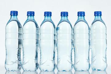 Clean clear blue water bottle