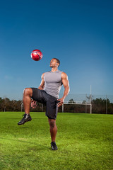 Athlete playing soccer