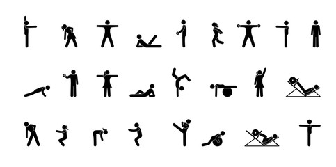 stick figures people do gymnastics set of silhouettes exercise pictogram man