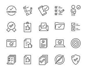 set of approval icons, such as check, list, correct, review, rating
