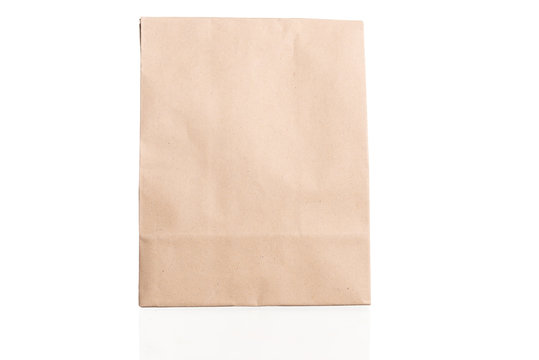 simple brown paper bag for lunch or food on white background