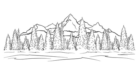 Hand drawn Mountains sketch landscape with peaks and pine forest. Line design
