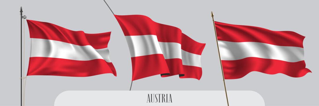 Set of Austria waving flag on isolated background vector illustration