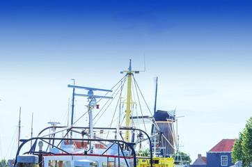 Old harbor in the city Zierikzee