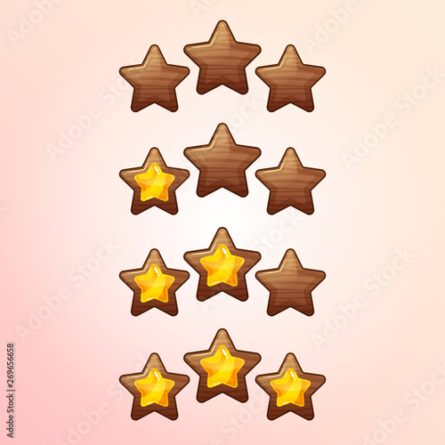 Cool cartoon game XP rating icons, level complete vector