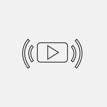 Video streaming vector icon solid grey