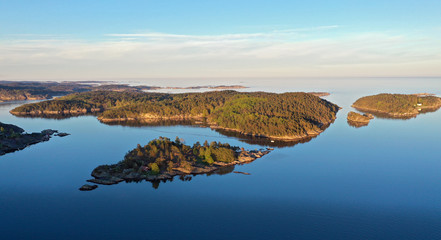 Aerial view of coast near Lillesand, Aust Agder, Norway