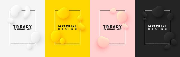 Obraz Minimal poster. Bright colorful background. Design elements of the liquid rounded plastic shapes, smooth sea stones, Flat Liquid splash bubble. - fototapety do salonu