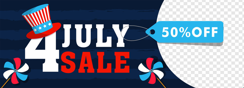 4th Of July, Independence Day Sale header or banner design with 50% discount offer and space for your product image.