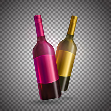 Realistic wine bottles in pink and golden color on transparent background.