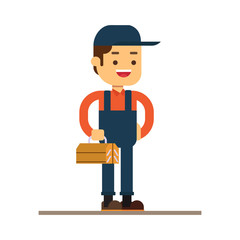 Man character avatar icon.Plumber male character standing holding tool box