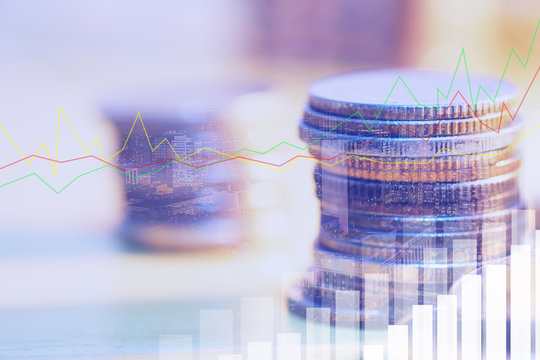 Financial investment concept, Double exposure of city night and stack of coins for finance investor, Forex trading candlestick chart economic , ECN Digital economy