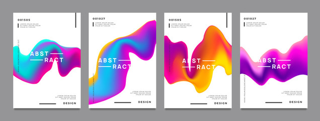 Obraz Abstract gradient poster and cover design. Colorful fluid liquid shapes. Vector illustration. - fototapety do salonu