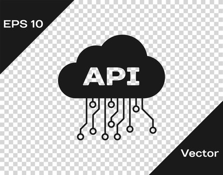 Grey Cloud api interface icon isolated on transparent background. Application programming interface API technology. Software integration. Vector Illustration