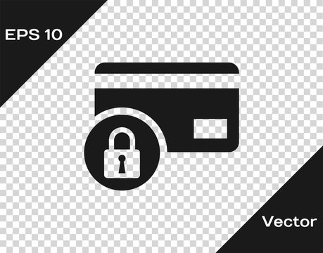 Grey Credit card with lock icon isolated on transparent background. Locked bank card. Security, safety, protection concept. Concept of a safe payment. Vector Illustration