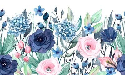 Fototapeta premium Bezszwowe granica akwarela z niebieskie i różowe kwiaty, liście. Szybka izolacja. Idealnie nadaje się na kartki okolicznościowe, wesele, zaproszenia na przyjęcie, projekty komercyjne.