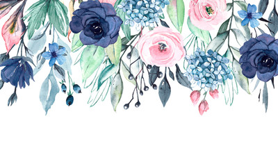 Watercolor floral drop border with blue and pink flowers, leaves. Fast isolation. Perfectly for wedding, greeting card, party invitation, commercial design.