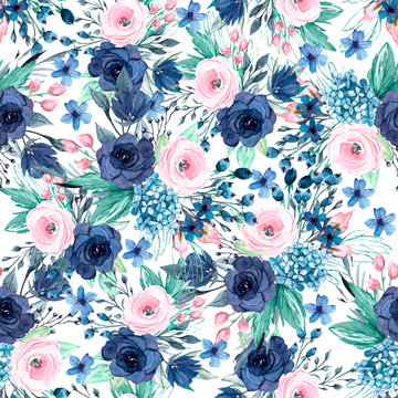 Seamless background, floral pattern with watercolor flowers and leaves. Repeating fabric wallpaper print texture. Perfectly for wrapped paper, backdrop, border.