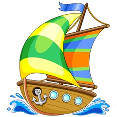 In de dag Draw Sailing Boat Cartoon Vector Illustration