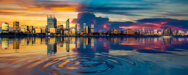 Wall Mural - Perth cityscape and reflection in the river