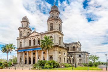 View at the Old Santiago Cathedral of Managua in Nicaragua