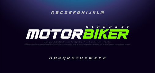 Sport Modern Italic Alphabet Font. Typography urban style fonts for technology, sport, motorcycle, racing logo design. vector illustration Wall mural